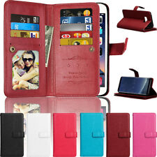 Luxury Magnetic Leather Flip 9 Card Phone Case Cover For Samsung S9 Plus A8 2018