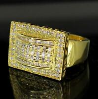 Mens 14k Gold Plated Cz Bling Hip Pinky Ring Hip Hop
