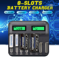8 Slots LCD Display USB Smart Battery Charger For AA AAA C D Size Battery 1800mA