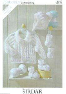 Sirdar Baby Knitting Pattern Jacket Hat Mittens  - 3949 - DK Double Knit