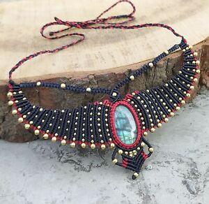 Labradorite Macrame Necklace Pendant Jewelry Cabochon Stone Handmade Bohemian AQ