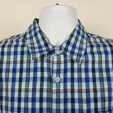 Carbon2Cobalt Mens Blue Gingham Check Linen Cotton Dress Button Shirt Medium M