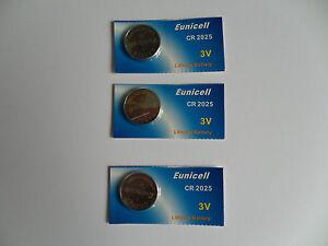 3 x Eunicell Batteries CR2025 DL2025