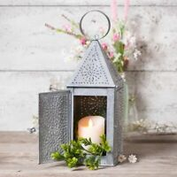Primitive new Square punched tin Candle Lantern in weathered zinc