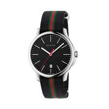 New Gucci G-Timeless Black Dial Nylon Black Red Green Strap Men's Watch YA126321