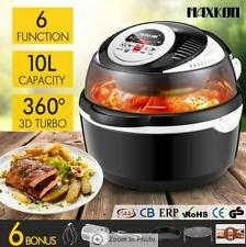 6-in-1 LED Portable Air Fryer Convection Oven Cooker-Black 10L 360°Rotation