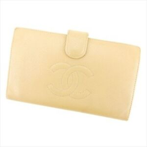 Chanel Wallet Purse Coin purse Beige Leather Woman Authentic Used T5149