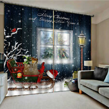 Waterproof 3D Christmas Window Curtains for Home Bedroom Wall Decor 2 Panels