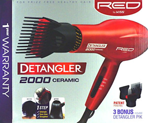 Hair Blower Blow Dryer with 3 Comb Attachments Red for Styling Straighten Drying