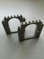 Lego - 2 x Door Frame - Grey with Stone Pattern and Clips (40242) GMT81
