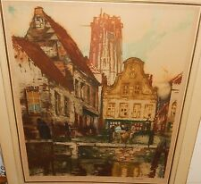 F.J. MIGINI AMSTERDAM MARKET SCENE HUGE COLOR LIMITED EDTITION ETCHING