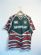 LEICESTER TIGERS | Men's Green Stripe Canterbury Rugby Union Shirt Jersey | XL