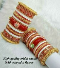 Rajwadi Dulhan Set Wedding Kundan Chura Bridal Bangle White Red Acrylic Plastic