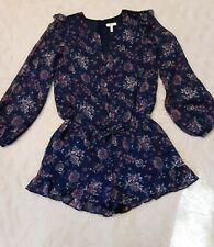 L S NWT $368 JOIE /'Jevin/' ROMPER Vintage Silk Lace Inset Long Sleeve Navy XS