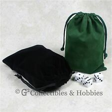 "NEW 5"" x 7"" Black & Green Velveteen Cloth Dice Bag 2pc Set RPG Counter Pouch"