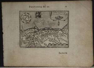 PROVENCE FRANCE 1602 ORTELIUS UNUSUAL ANTIQUE COPPER ENGRAVED MINIATURE MAP