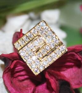 0.80CT Natürlicher Diamant 14K Gelbgold Hochzeitstag Krawatte Anstecknadel