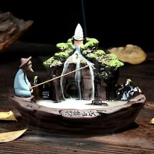 Rockery Ceramic Glaze Backflow Incense Burner Censer Cones Holder Stick Smoke
