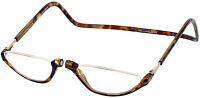 CliC MAGNETIC Snap OVER NOSE Neck-hanging Reading Glasses Tortoise  1.25 to 3.00