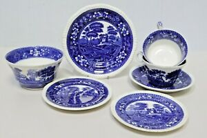 7 x Copeland Spode TOWERS Blue White Tableware Cups, Saucers, Plates, Bowl -250