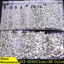 3D Nail Art Rhinestones Flatback Non Hotfix AB Glitter Gems Tips DIY Decoration