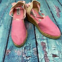 SPARTVS Carina Espadrille Wedge Heels Pink Canvas Pumps Women's Shoes Spain Made