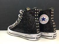 converse all star nere alte con tessuto glitter nero e borchie argento