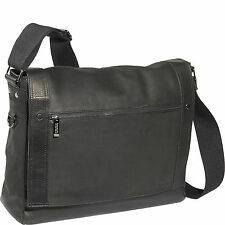 $480 KENNETH COLE MEN BLACK MESSENGER Leather Flapover LAPTOP BRIEFCASE WORK BAG