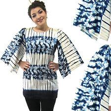 Vtg Blue White Stripe Floral Tie Dye Kimono Mini Dress Angel Sleeve Tunic Top M