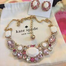 KATE SPADE GARDEN BED GEMS COLLAR NECKLACE & EARRINGS SET PINK WHITE MULTI