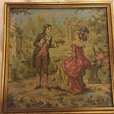 """Beautiful Antique Framed Needlepoint Tapestry Courtship Scene 9"""" x 9"""""""