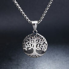 Fashion Jewelry Casting Tree Of Life Round Stainless Steel Pendant Necklace