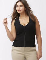 Lane Bryant Zip-Front Ribbed Sweater Tank Plus 14 16 18 20 22 24 1X 2X 3X NEW