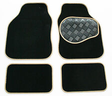 Mercedes SLK (R171) 04-11 Black & Beige Carpet Car Floor Mats - Rubber Heel Pad