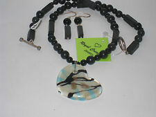 Necklace Black Onyx/Black Square Beads/Murano Glass Heart Pendant