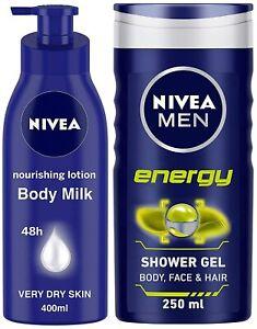 NIVEA Lotion Body Milk Very Dry Skin, 400ML + Shower Gel, Energy, Men, 250ML