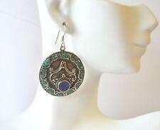 Turquoise & Lapis Earrings Vintage Tibetan Silver Bohemian Handmade Exclusive