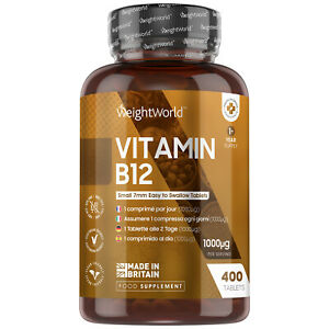 Vitamin B12 - 400 Tabletten - mit 1000mcg Methylcobalamin - Vit B-12 Hochdosiert