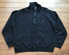 Nautica Mens Large Half Zip Checked Black Long Sleeve Cotton Blend Sweater FLAW