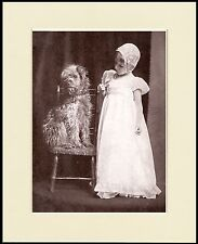 SOFT COATED WHEATEN TERRIER AND LITTLE GIRL DOG PRINT MOUNTED READY TO FRAME