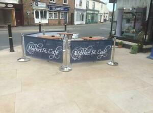 2 JOINED 2MT OUTDOOR CAFE BARRIERS DIVIDERS + PRINTED PVC BANNER + DESIGN