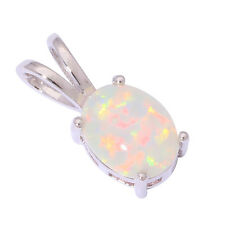 Pretty White Fire Opal Silver Party Women Jewelry Gemstone Pendant 15mm OD6320
