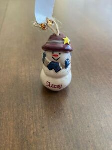 STACEY Personalized Snowman Ornament GANZ
