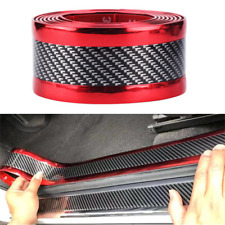 2.5m Car Door Sill Scuff Plate Guard Pedal Protector Strips 3cm Carbon Fiber Red