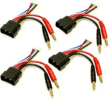(4) ID Charger Adapters: Traxxas ID Male to 4mm bullet adapter for 4s packs