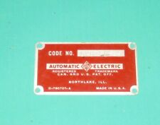 Vintage Payphone Serial Number Plate Automatic Electric