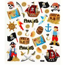 Boys Pirate Ahoy/Chest/Treasure Glitter Stickers 15cm Embellishments Sheet Kids