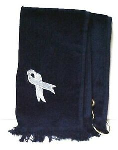 Golf Hand Towel Brain Cancer Awareness Embroidered Silver Grey Ribbon Black