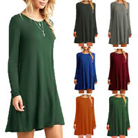 Women Lady Loose Casual Solid Sexy O-Neck Long Sleeve Ruffles Winter Mini Dress