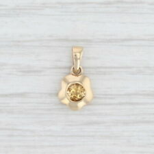 New 0.24ctw Orange Citrine Flower Pendant 14k Yellow Gold Round Solitaire Floral